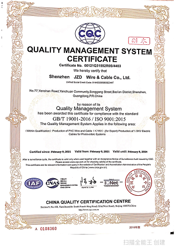 JZD Cable Manufacturer Passed The ISO9001